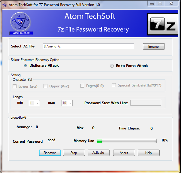 Atom TechSoft 7z password recovery cracker