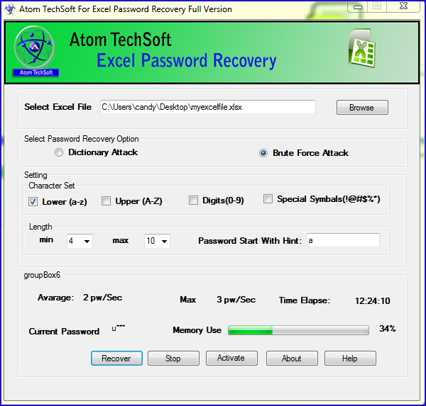 Software For Recovery Of  Excel Password Screenshot