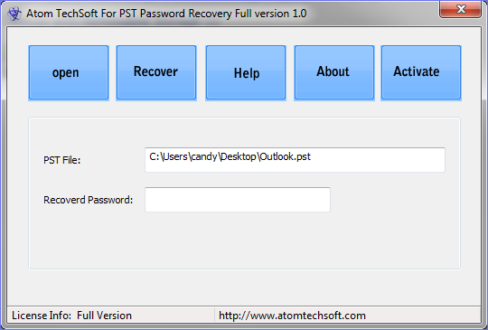 Best Atom TechSoft PST password recovery Tool