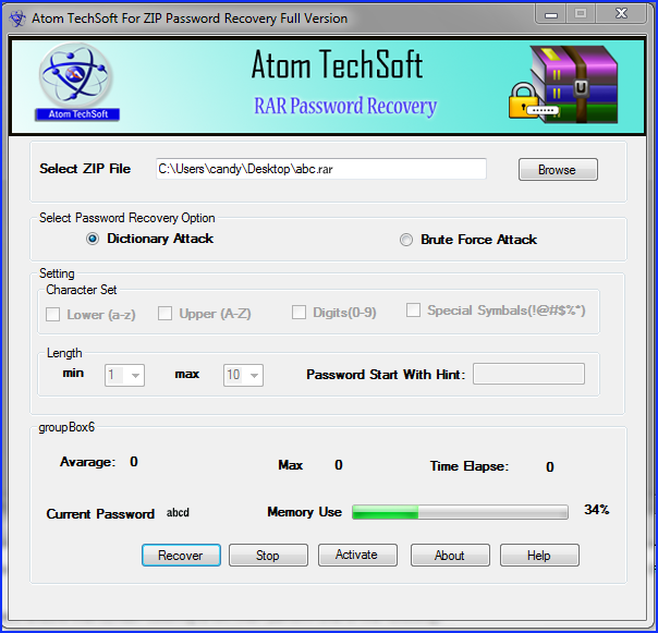 Atom TechSoft RAR Password Recovery full screenshot