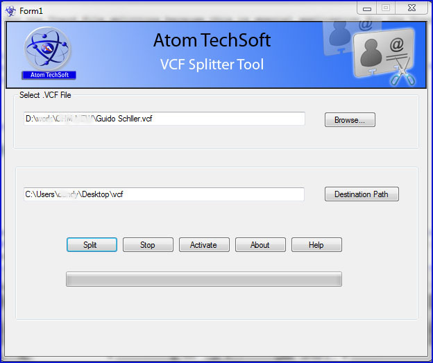 Extract vcard to multiple vcf by vcf splitter
