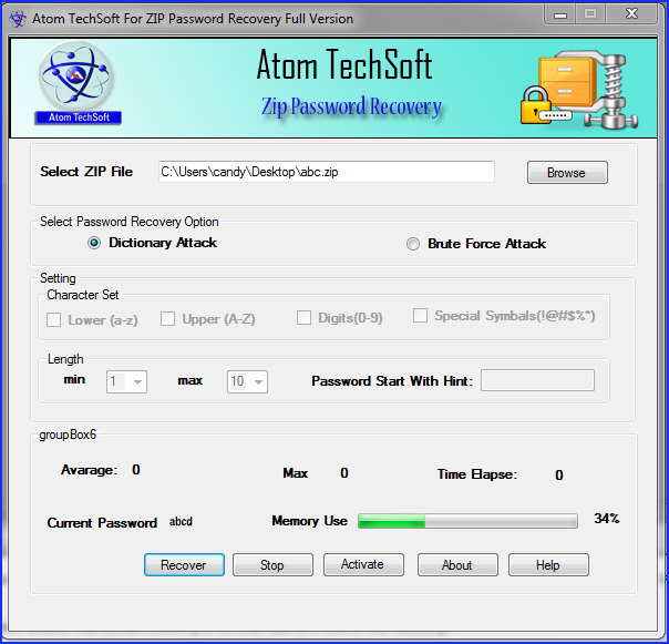 Atom Tech Soft zip password recovery tool